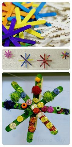 Colorful Snowflakes (and a colorful snowflake garland) from www.fun-a-day.com -- A super fun, super easy way to brighten the home and classroom during dreary winter days!