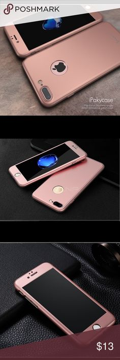 """i6+/6s+ Stylish 360 Full cover hard case i6+/6s+ Stylish 360 Full cover hard case Stylish and fashion Brand new 360 degree full cover case with high quality tempered glass screen protector hard case for Apple iPhone 6 Plus / 6s Plus, 5.5""""  Color: Rose Gold Fast shipping. Accessories"""