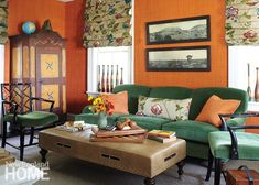 Cozy orange and green New England living/tv room with orange grasscloth walls and green Scalamandre velvet upholstery. Photography by Laura Moss Interior Design by Polly Lewis and Maribeth Brostowski Orange Rooms, Living Room Orange, Green Rooms, Green Walls, Oranges Sofa, Orange Accent Walls, Orange Couch, Living Tv, Room Wall Colors