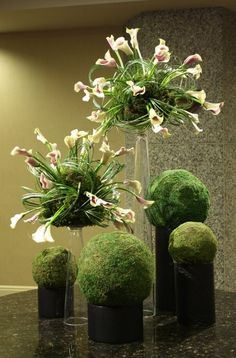 Lobby Flowers 'Planet Calla' - Calla lilies randomly shoot out of moss covered spheres. Loops of bear grass complete the look- by Crossroads Florist, Mahwah NJ