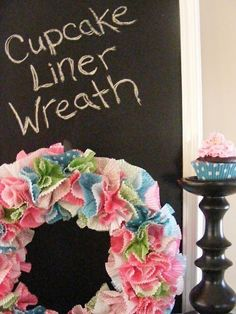 The Complete Guide to Imperfect Homemaking: DIY~ A Cheerful Wreath from Cupcake Liners Cute Crafts, Creative Crafts, Crafts To Make, Arts And Crafts, Diy Crafts, Wreath Crafts, Diy Wreath, Couronne Diy, Do It Yourself Design