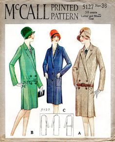 McCall 5127 1927 1920s flapper coat double or single breasted drop waist vintage sewing pattern reproduction