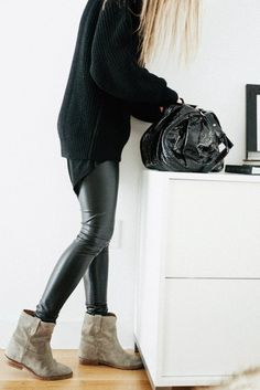 Leatherette Leggings + Sweater + Booties