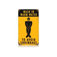 This Avoid Shrinkage vintage metal sign measures 8 inches by 14 inches and weighs in at 1 lb(s). We hand make all of our vintage metal signs in the USA using heavy gauge american steel and a process known as sublimation, where the image is baked into a powder coating for a durable and long lastin...
