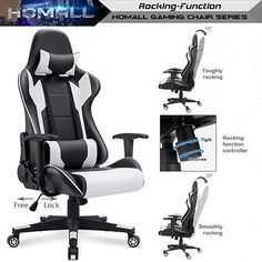 Homall Gaming Chair Office Chair High Back Computer Chair PU Leather Desk Chair PC Racing Executive Ergonomic Adjustable Swivel Task Chair with Headrest and Lumbar Support (White) Computer Desk Chair, Gaming Chair, High Back Office Chair, Office Chairs, Office Chair Makeover, Races Style, Pu Leather, Racing, Games