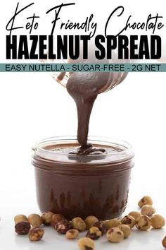 "Happiness is homemade chocolate hazelnut spread! Simply the best low carb ""Nutella"" spread ever. This keto Nutella recipe is the stuff of legends. At least in my own mind but a legend nonetheless. How can I drop 20 pounds fast? Homemade Nutella Recipes, Homemade Chocolate, Chocolate Recipes, Healthy Nutella Recipes, Soft Chocolate Chip Cookies, Chocolate Hazelnut, Low Carb Desserts, Low Carb Recipes, Flan"