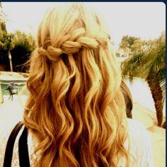 waterfall braid and beachy curls