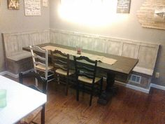 Custom Pine Trestle Table and Banquette