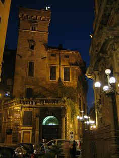 Via dei Portoghesi, Roma ~ (A medieval tower and a Baroque church near one another)