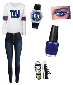 """NY Giants"" by sarahflips ❤ liked on Polyvore featuring Converse, Game Time, OPI and COVERGIRL"