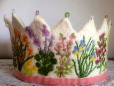Floral Garden Waldorf Birthday Crown - gorgeous needle felting