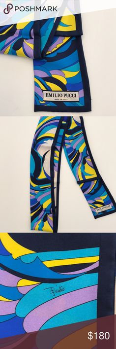 Emilio Pucci Printed Silk Scarf This is a BRAND NEW Emilio Pucci Printed Silk Scarf. Comes with Pucci branded box. This has never been worn and is brand new.   Scarf can worn around neck, as headband, or belt. Accessories Scarves & Wraps