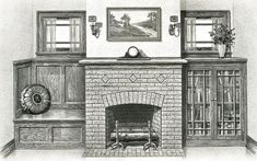Sears kit house fireplace and built ins - cabinets like this under our entertainment wall mantle Fireplace Art, Craftsman Fireplace, Fireplace Shelves, Fireplace Built Ins, Fireplace Ideas, Fireplaces, Craftsman Interior, Craftsman Style Homes, Craftsman Bungalows