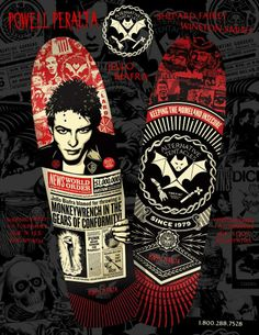 The Alternative Tentacles board uses Winston Smith's awesome A.T. logo as the focal point, with design embellishments by Shepard. Ask for the boards at a skate shop, and look out for the poster in late Dec.