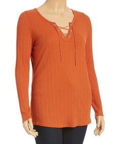 Love this Orange Ribbed Lace-Up Top - Plus on #zulily! #zulilyfinds