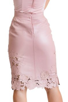 Laser Cut and Embrodeiry Skirt - Rose