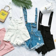 New Arrival Summer Women Fashion Tassel Denim Cute Solid Loose Overalls Female Casual Beach All-match Short Jeans Teen Fashion Outfits, Casual Outfits, Cute Outfits, Womens Fashion, Casual Clothes, Cheap Clothes, Ladies Fashion, Ripped Denim, Denim Outfits