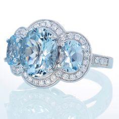 18K White Gold Three Stone Diamond Halo Something Blue by samnsue, $2,990.00