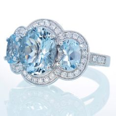 18K White Gold Three Stone Diamond Halo Something Blue by samnsue, $2,990.00