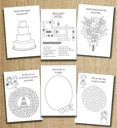 Mit diesem süßen Mal- und Rätselheft wird es Euren kleinen Hochzeitsgästen garantiert nie Langweilig! :-) Das Mal- und Rätselheft beinhaltet auf insgesamt 16 Seiten knifflige Rätselaufgaben,...