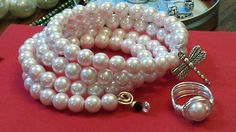 Glass Pearl Bracelet and coordinating Wire Wrapped Ring