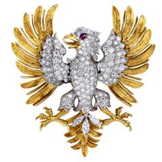 Fantastic MCTEIGUE Diamond Eagle Pin | From a unique collection of vintage brooches at http://www.1stdibs.com/jewelry/brooches/brooches/