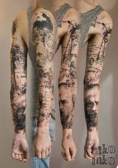 Sleeve tattoo tattoo texte, tatoo art, tattoo ink, tattoo arm mann, p Great Tattoos, Beautiful Tattoos, Body Art Tattoos, Tattoos For Guys, Tattoo Trash, Trash Polka Tattoo, Tattoo Arm Mann, I Tattoo, Button Tattoo