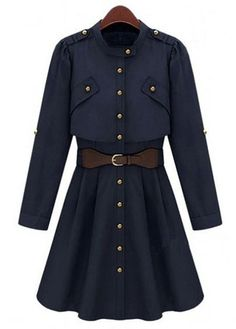 Work Style Single Breasted Trench Coat Navy Blue   Rosewe.com