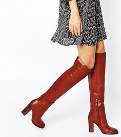 Buy Sam Edelman Rylan Rust Red Leather Heeled Knee Boots at ASOS. Get the latest trends with ASOS now. Brown Knee High Boots, Knee High Heels, High Heel Boots, Brown Boots, Over The Knee Boots, Heeled Boots, Bootie Boots, Shoe Boots, Botas Sexy