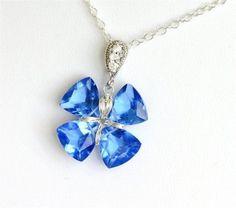 Gemstone Lucky Clover Necklace Blue Quartz by LemonDreamHouse, $45.00