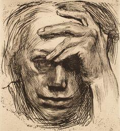 kollwitz Self-portrait with hand to forehead