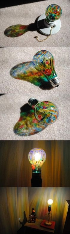 DIY Painted Light-bulb - plug it in and watch the walls illuminate with colorful art - TOO COOL! Cute Crafts, Crafts To Do, Arts And Crafts, Diy Crafts, Sharpie Crafts, Diy Projects To Try, Craft Projects, Light Bulb Crafts, Light Bulb Art