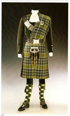 Detail of Duke of Windsor's green silk corduroy doublet, kilt and matching plaid