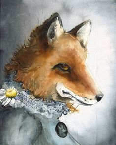 In honor of the beautiful fox outside my kitchen window.  Amber Alexander, Vermont watercolorist