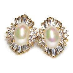 Ornate Rhinestone Opalescent Faux Pearl Clip Earrings ($40) ❤ liked on Polyvore featuring jewelry, earrings, clear earrings, clip back earrings, clip on earrings, oval earrings and imitation pearl earrings