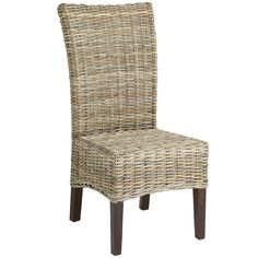 Bring breezy appeal to your dining room or breakfast nook with this charming side chair, showcasing a woven rattan seat and wood frame. Product: Set of 2 chairsConstruction Material: Rattan and woodColor: Soft greyFeatures: Woven seatDimensions: H x W x D Rattan Dining Chairs, Dining Chair Set, Dining Room Furniture, Dining Area, Rattan Stool, Kitchen Chairs, Outdoor Dining, Office Furniture, Kitchen Dining