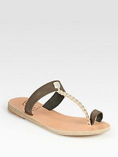 Ancient Greek Sandals Melpomeni Leather & Braided Metallic Leather T-Strap Sandals