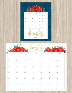 printable floral calendar - december