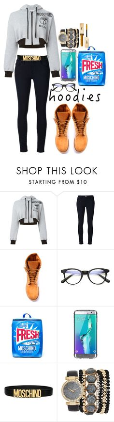 """Welcome to my hood-ie"" by kocoabelle ❤ liked on Polyvore featuring Moschino, Frame, Timberland, ZeroUV, Griffin, Jessica Carlyle, Yves Saint Laurent and Hoodies"