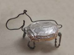 Hippo made with recycled wire of Champagne bottle by the French Hippopotamus Society member