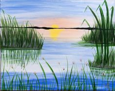 lake grass easy painting marsh paintings sunset simple acrylic drawing paint landscape oil canvas acrilic pastel landscapes