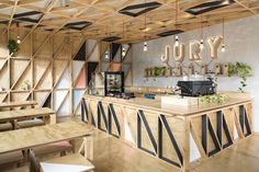 Lucky Penny Café Restaurant by Biasol: Design Studio, photo: Martina Gemmola In the heart of Chapel Street, South Yarra, one of Melbourne's prominent Cafe Bar, Cafe Shop, Restaurant Bar, Restaurant Design, Modern Restaurant, Design Café, Design Shop, Design Studio, Cafe Interior Design