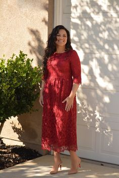 With the holidays coming up, we thought our Annie dress would be perfect for holiday parties! Annie is perfection! Modeled in medium, Small (bust lace) Medium (bust Lace Burgundy Dress, Lace Dress, Beautiful Outfits, Annie, Berry, Cold Shoulder Dress, Clothing, Model, Dresses