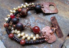 Earth, Fire, and Water - Boho Multi-strand Bracelet with Jasper, Freshwater Pearls, Agates, Carnelians, and Copper