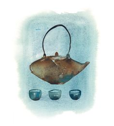 Lucile Prache #Teatime #teapot #homedecor #FashionIllustration #Handbags #watercolor #TrafficNYC #printsforsale