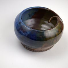 LOVE it! Perfect amount of rustic and simple.    Yarn Bowl Knitting or Crochet Yarn Pot in Blue by PrimitivePots, $43.00
