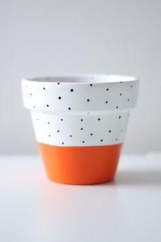 Bright Orange White And Black Polka-Dot Plant Pot 11cm x