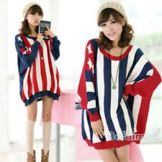 Round neck usa flag batwing coat sweater