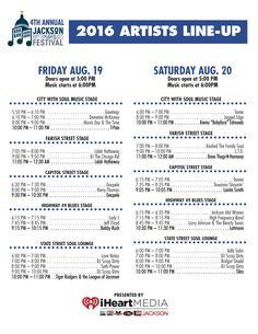 Here's the 2016 Schedule for the #JXNRandBFest - happening August 19 & 20th - next Friday & Saturday Jackson Rhythm & Blues Festival