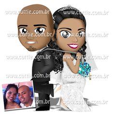 Caricatura para casamento - Noivos Jaqueline e Thiago - noivinhos cuttie